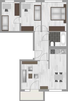 Grundriss: 4-Raum-Wohnung Genthiner Straße 14