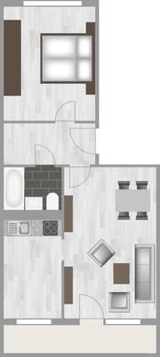 Grundriss: 2-Raum-Wohnung Lindenweg 2