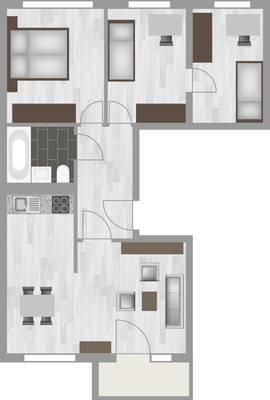 Grundriss: 4-Raum-Wohnung Am Hohen Ufer 8