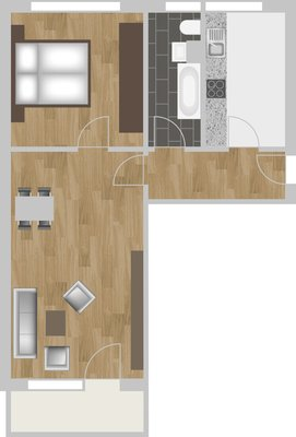 Grundriss: 2-Raum-Wohnung Brüsseler Straße 12