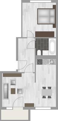 Grundriss: 2-Raum-Wohnung Am Hohen Ufer 10
