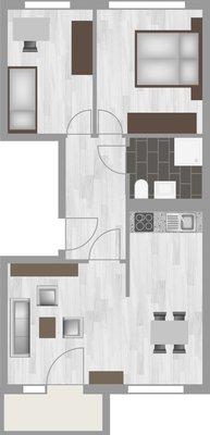 Grundriss: 3-Raum-Wohnung Genthiner Straße 8