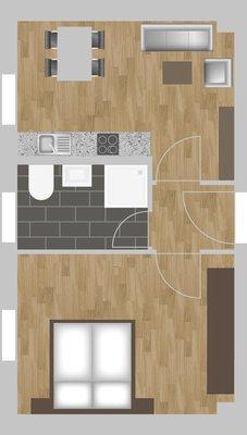 Grundriss: 1-Raum-Wohnung Eugen-Schönhaar-Straße 9