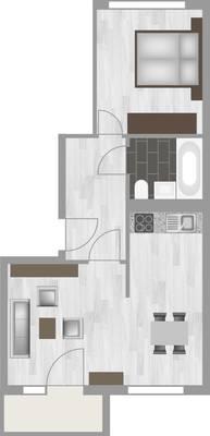 Grundriss: 2-Raum-Wohnung Am Hohen Ufer 4