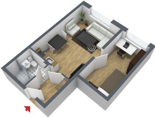 Grundriss: 2-Raum-Wohnung Kattowitzer Straße 5