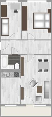Grundriss: 3-Raum-Wohnung Heidekrautweg 5