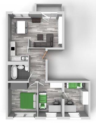 Grundriss: 4-Raum-Wohnung Genthiner Straße 7