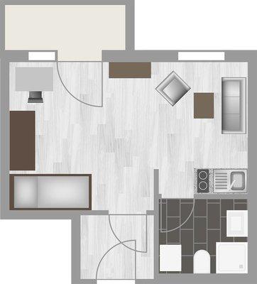 Grundriss: 1-Raum-Wohnung Voßstraße 7