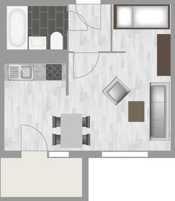 Grundriss: 1-Raum-Wohnung Weißenfelser Straße 49