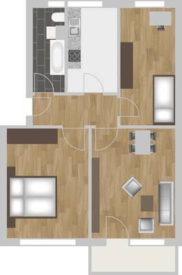 Grundriss: 3-Raum-Wohnung Züricher Straße 18