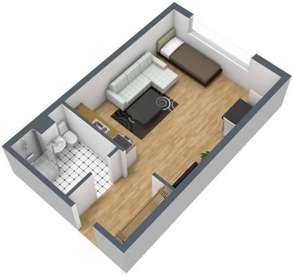 Grundriss: 1-Raum-Wohnung Kattowitzer Straße 5