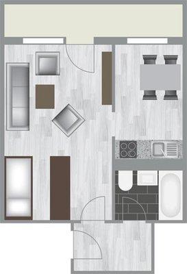Grundriss: 1-Raum-Wohnung Heidekrautweg 7