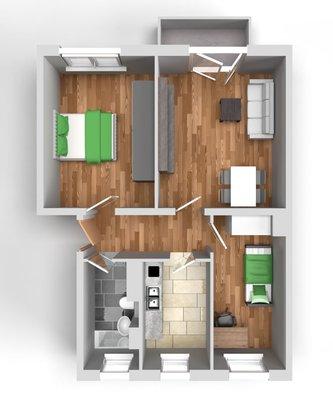 Grundriss: 3-Raum-Wohnung Paul-Suhr-Straße 48c