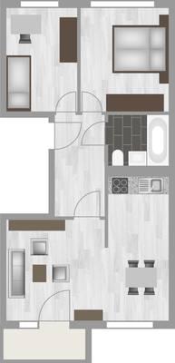 Grundriss: 3-Raum-Wohnung Am Hohen Ufer 27