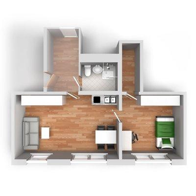 Grundriss: 2-Raum-Wohnung Voßstraße 7