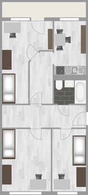 Grundriss: 1-Raum-Wohnung Heidekrautweg 4