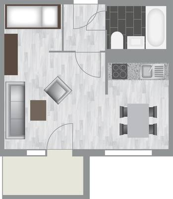 Grundriss: 1-Raum-Wohnung Karpfenweg 18