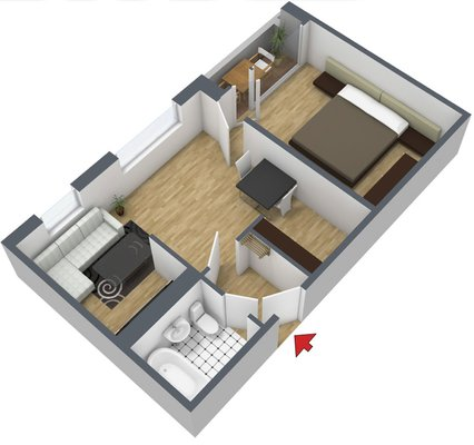 Grundriss: 2-Raum-Wohnung Weißenfelser Straße 23